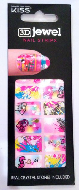 Kiss Nail Stick on Strips Full 3D Jewel Strips # DMT 145 Love Graffiti
