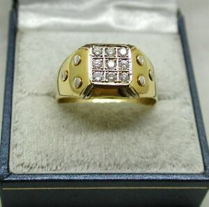 Gents-Superb-Heavy-Two-Colour-18ct-Gold-Nine-Stone-0-40ct-Diamond-Signet-Ring