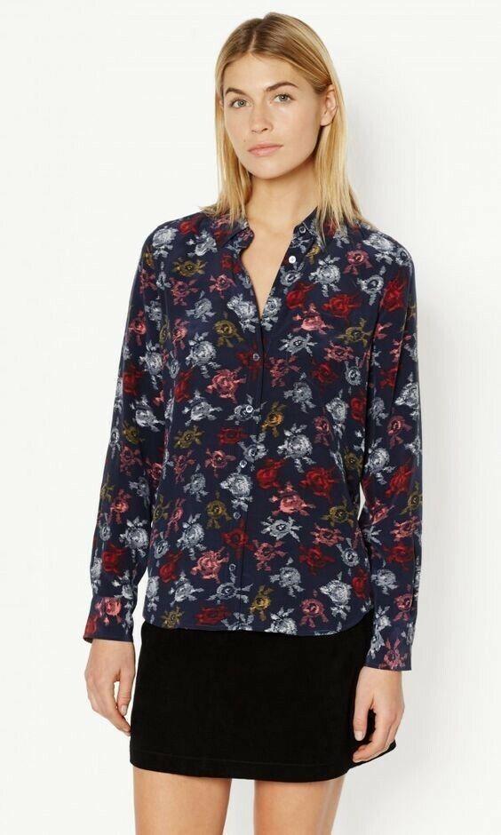 NWT Equipment Brett Floral Print Silk Shirt Blouse Peacoat Multi Größe M