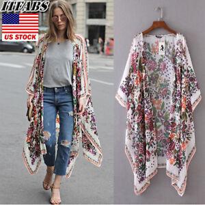 US-Women-Boho-Long-Loose-Flowy-Shawl-Kimono-Duster-Cardigan-Cover-Up-Top-Blouse
