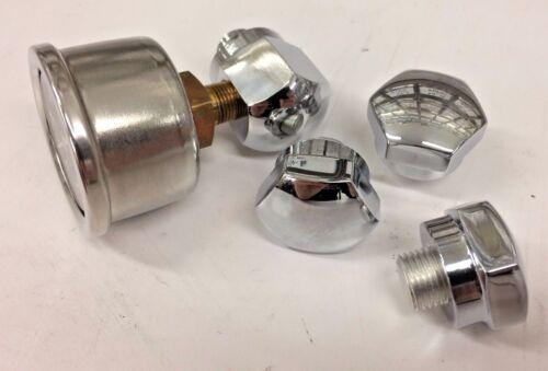 44 Chrome Rocker Box Shaft End BOLT Oil Pressure Gauge Ironhead Shovelhead black