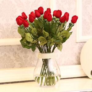 1-2-4-10pcs-Rosen-Blumen-kuenstlicher-Bouquet-Wedding-issuing-Rosen-Schoen