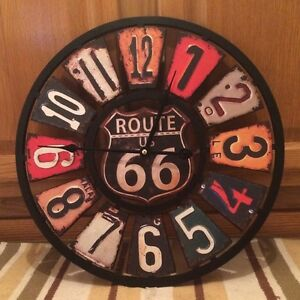 Garage Wall Art route 66 clock vintage style license plate gas oil pump garage