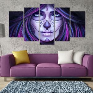 Halloween Face Purple Sugar Skull 5 Panel Canvas Print Wall Art Decor Painting