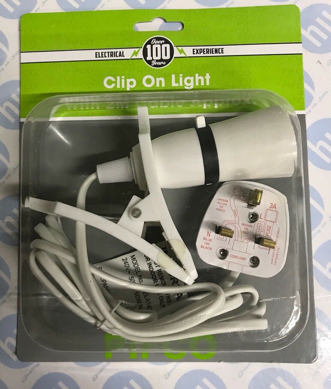 Multipurpose Clip On Light With 2m Cable Plug Fitted Suits Brand New