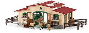 Schleich-Farm-World-42195-Pferdestall-mit-Pferden-und-Zubehoer