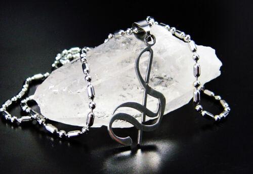 neu Edelstahl Gitarre Anhänger Geige Saxophon Note Kette 60cm Edelstahlkette
