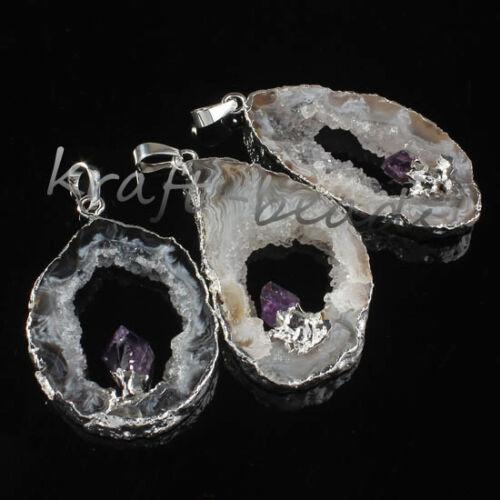 Natural Agate Slices Crystal Geode Amethyst Random Chakra Stone Pendant Jewelry