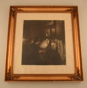 Peter-Ilsted-Interior-with-two-girls-at-the-piano-Mezzotint-in-colours