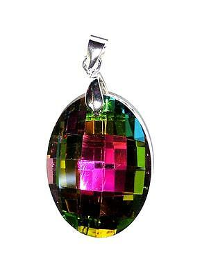 """PENDANT/NECKLACE 20"""" Adj. Cord Glass Crystal Brilliant Faceted RAINBOW OVAL"""