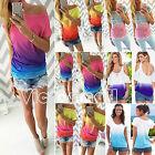 Sommer Damen Gradient Kurzarm Bluse T-Shirt Freizeit Hemd Oberteil Tops Gr.34-42