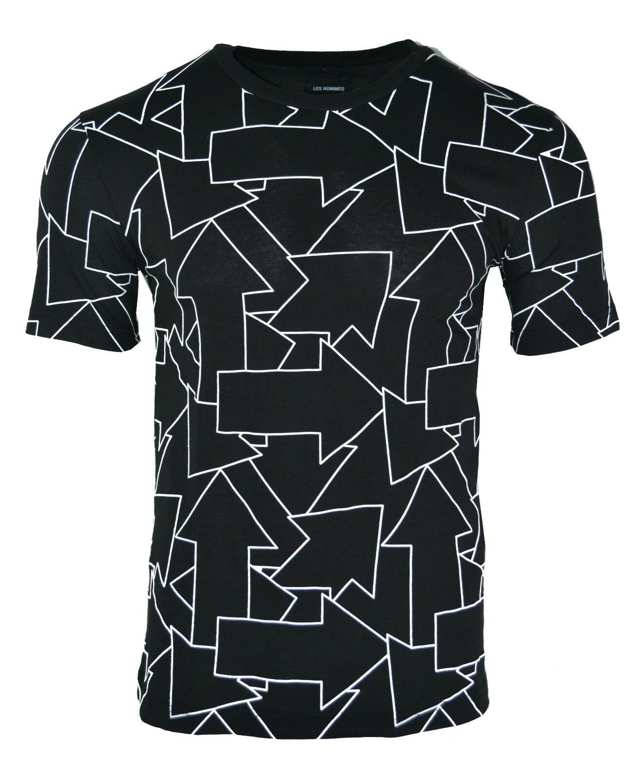 LES herren ARROW PRINT T-SHIRT schwarz & Weiß METAL LOGO PLAQUE