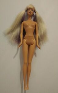 "Barbie Doll Everflex Waist Purple & Blonde Hair 1999 Mattel 11 1/2"" Tall NUDE"