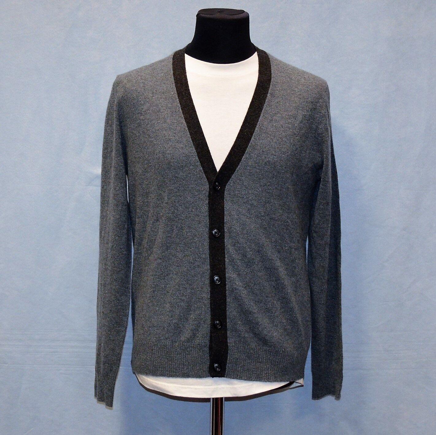 B5 NWT NEIMAN MARCUS Cashmere ContrastTrim Iron Heather Cardigan Sweater XL 368