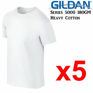 Gildan-T-SHIRT-White-blank-plain-tee-S-M-L-XL-2XL-XXL-Men-039-s-Heavy-Cotton-Premium