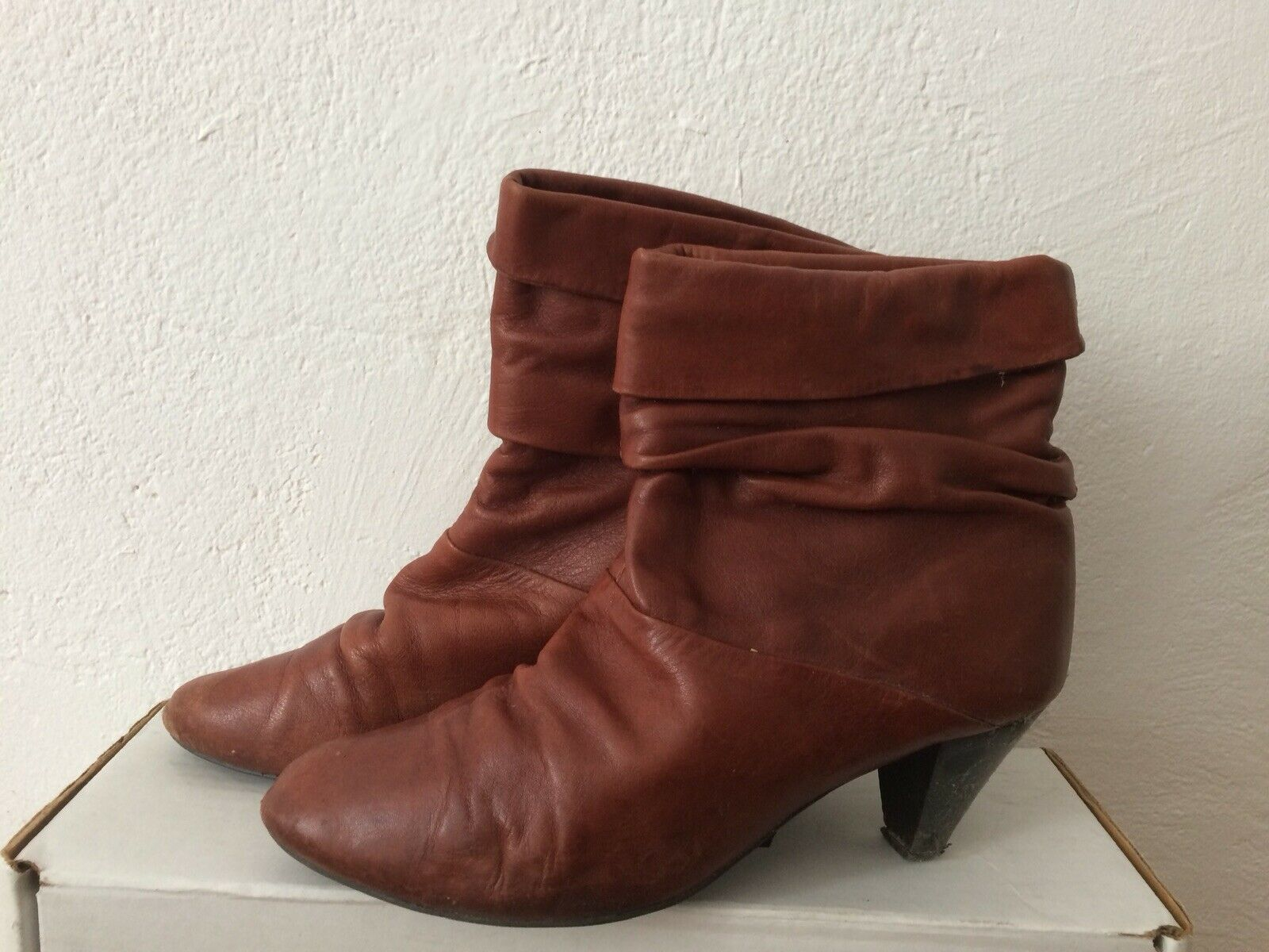 Vintage Stiefel Stiefeletten Cognac 39 Leder Echt Außen Innen Slouch Boho