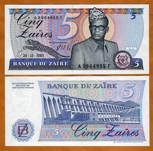 ZAIRE Zaïre UNC - Set of 6 Notes: 1-20000 Zaires Likuta 1985-1993