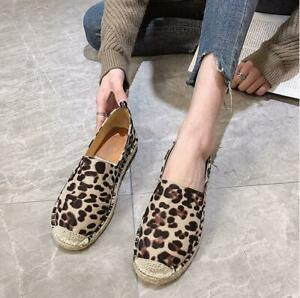 Leopard-Women-039-s-Espadrille-Flats-Loafers-Moccasins-Oxfords-Casual-Comfort-Shoes