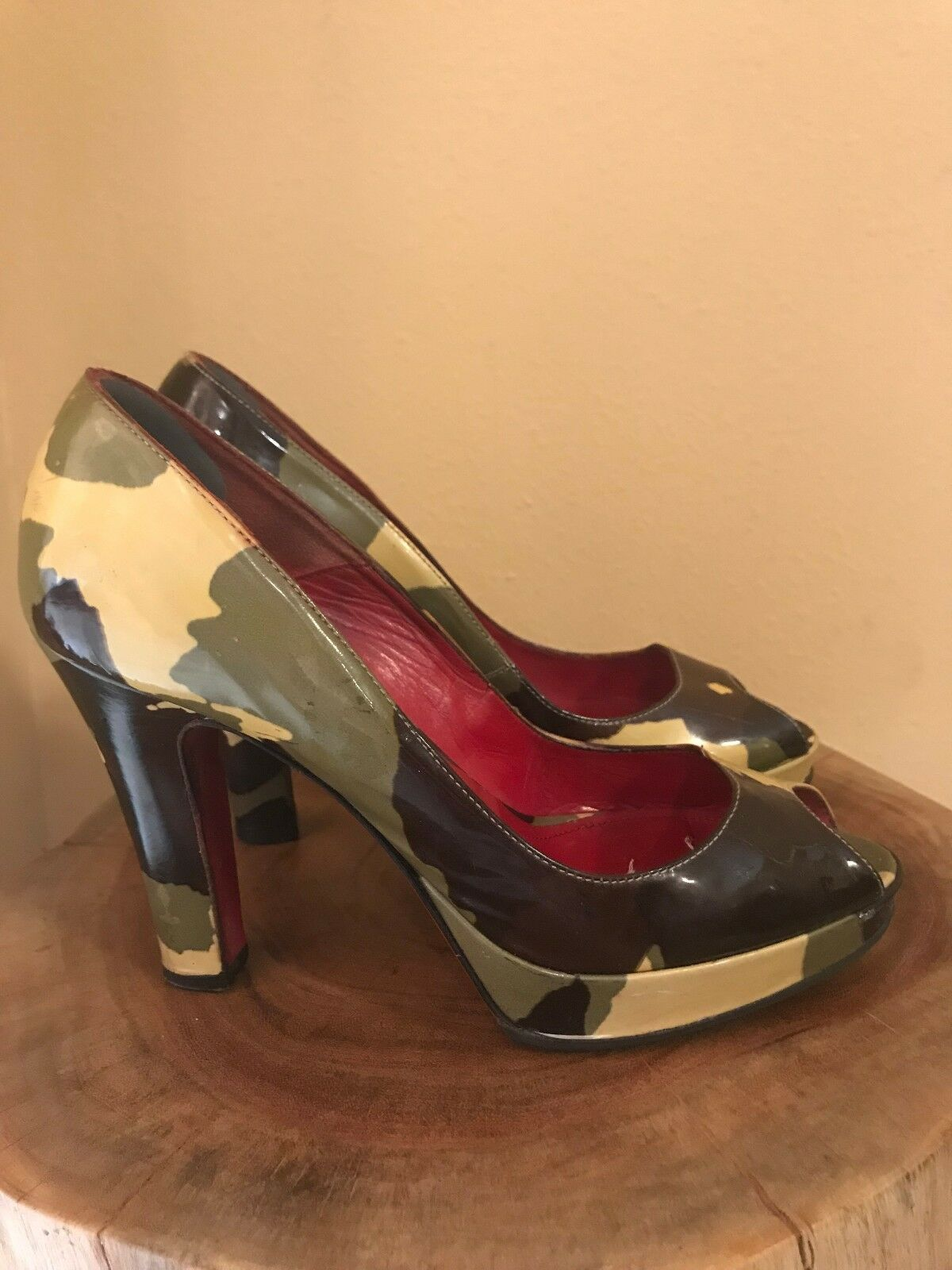 Cesare Paciotti patent leather camouflage high heel open toe chaussures - US Taille 8