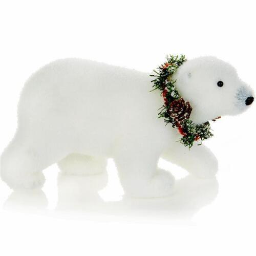 POLAR BEAR with Wreath Collar Statue Figurine Christmas Holiday Decoration