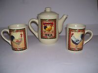 Ceramic Rooster Teapot Bay Island Inn Rooster Tea Set Country Shabby Chic