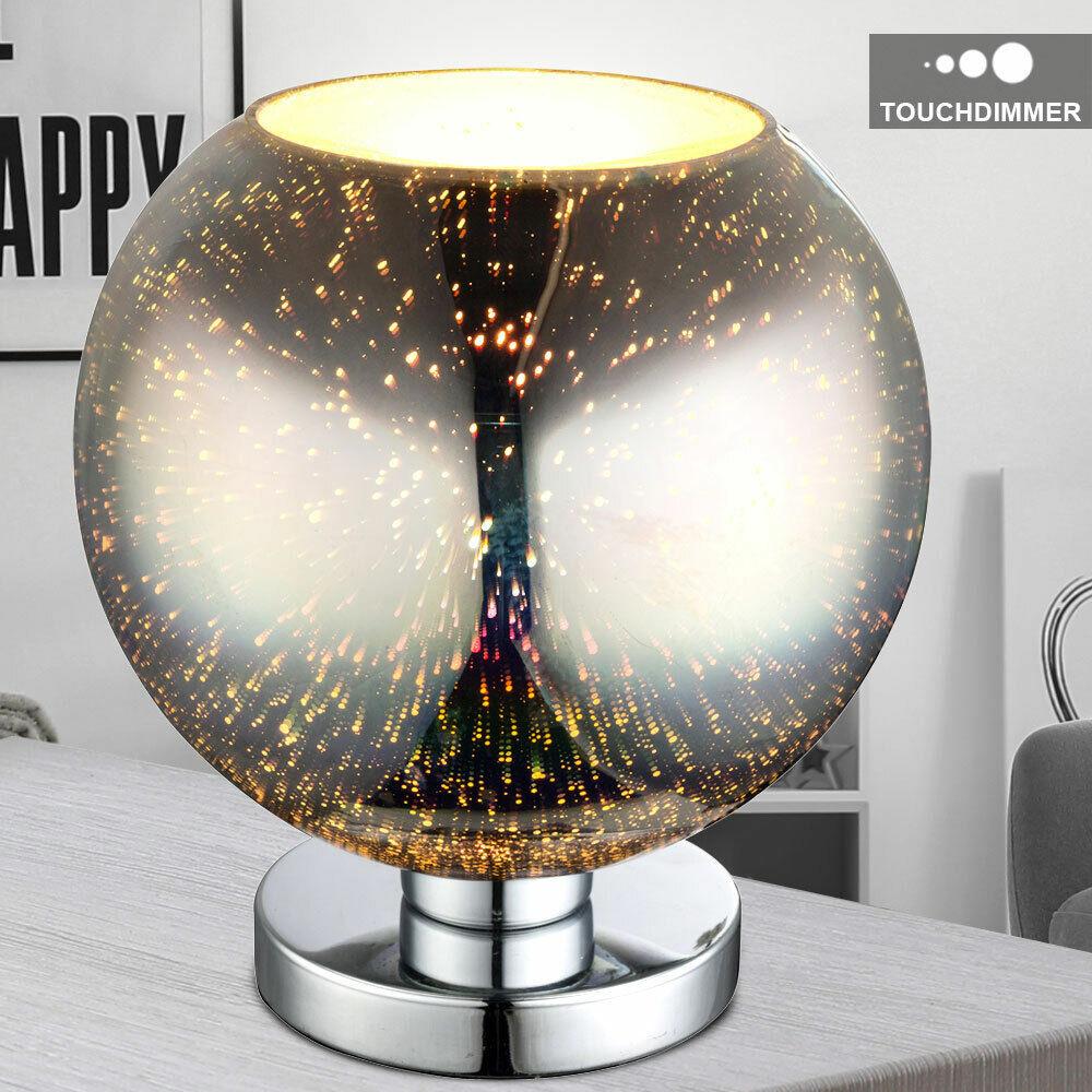 3D Effekt Tisch Lampe TOUCH DIMMER Wohn Zimmer Glas Kugel Design Leuchte Chrom