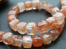 HAND FACETED STRAWBERRY QUARTZ CUBES, approx 7mm beads, 8""