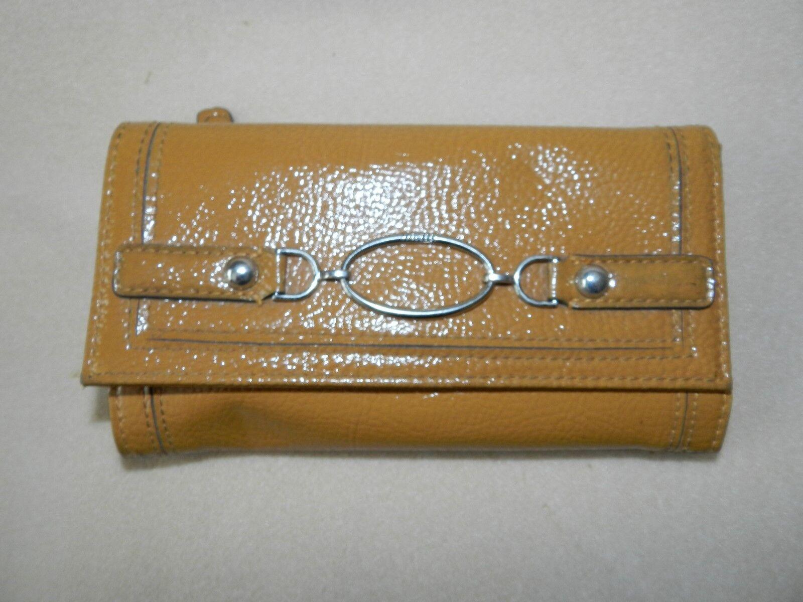 Liz & Co. Goldenrod Yellow/Brown tri-fold wallet