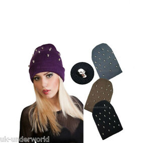 ca72f0b9971 Image is loading Ladies-Chrome-Skull-Studded-Stud-Knitted-Slouch-Beanie-