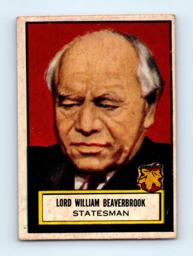 #100 LORD WILLIAM BEAVERBROOK Vintage 1952 TOPPS LOOK 'N SEE Trading Card