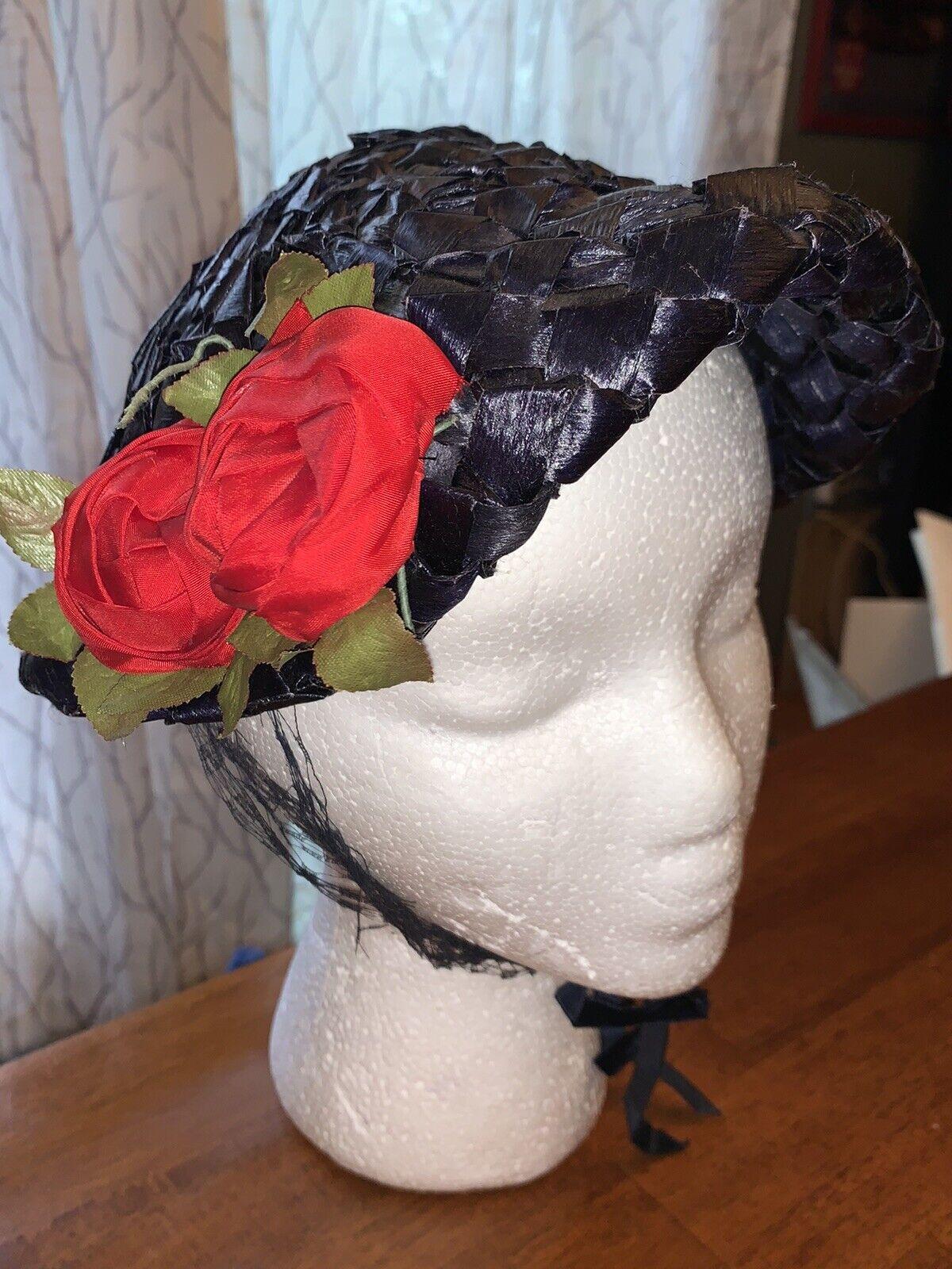 VINTAGE 1950's NORMAN DURAND ORIGINAL BLUE STRAW HAT W/ Roses
