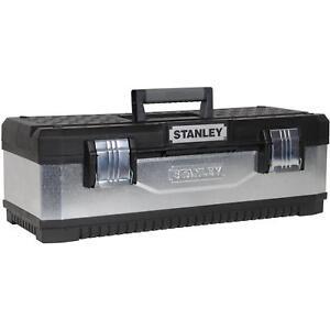 "Stanley DIY Storage Tools Heavy Duty Metal Plastic Tool Box Tote Tray 26"" Handle"