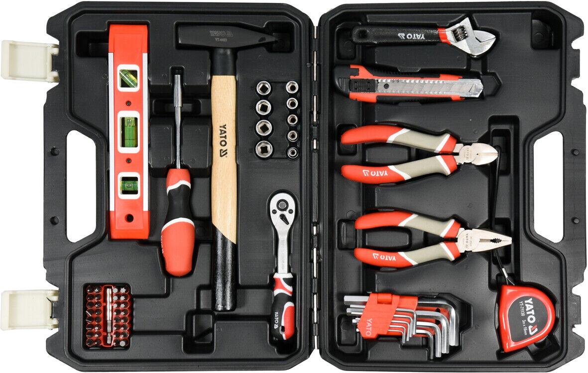 Werkzeugkoffer 60-teilig , Ratsche, Wasserwaage, Zangen, Bits, Hammer, Messer