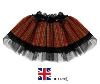 "Skirt Checked Hen Party Womens Short Length 9/"" Red Mini Kilt Pleated Costume Fun"