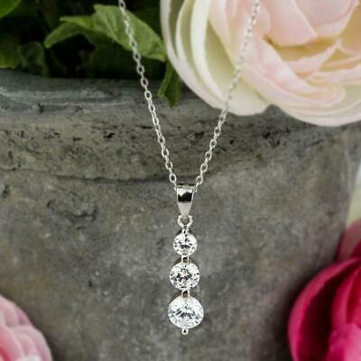 1.30 Ct Round Cut D//VVS1 Three-Stone Bezel Set Necklace In 14K Yellow Gold Over