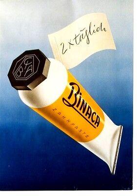 Original vintage poster BINACA TOOTH PASTE DENTAL TUBE 1946