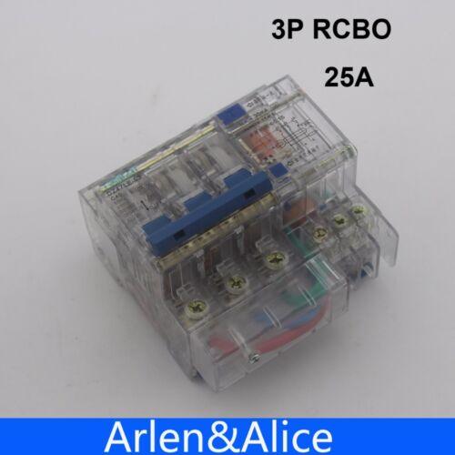 Transparent DZ47LE 3P 25A 400V~ 50HZ//60HZ Residual current Circuit breaker RCBO