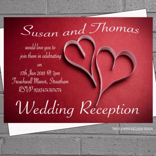 12 X Día Noche de invitación de boda con corazones de papel blanco rojo de recepciónH1657