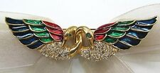 18KGP Two Swan Love Swarovski Element Austrian Crystal Rhinestone Brooch Pin
