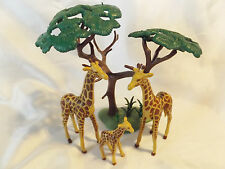 Playmobil Giraffe Family w/ Acatia Tree Landscape for Zoo, Safari, Ark Animals