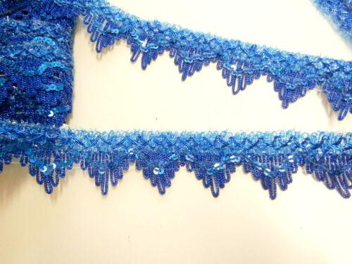 paillettes 35 mm pagliette blu nastro pizzo nero Pizzo leonisch viola