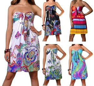 New-Angela-Ladies-Sexy-Short-Holiday-Floral-Summer-Beach-Dress-Strapless-Day-UK