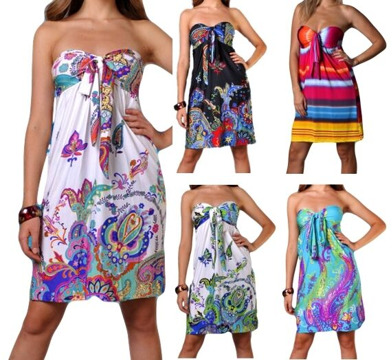 Ladies Dress Short Sundress Holiday Summer Beach Casual Womens Dresses Strapless