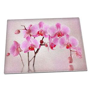 Rosa Orchidea Fiore esotico Vetro Tagliere Cucina Floreale 068  </span>