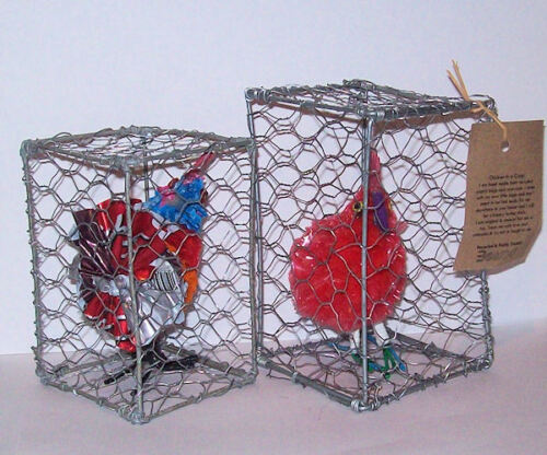Fair Trade Recycled Plastic Chicken in a /'Coop/'.