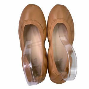 Yosi Samra Lexington Saddle Vegan Leather Foldable Ballet Flats Camel Tan Size 6