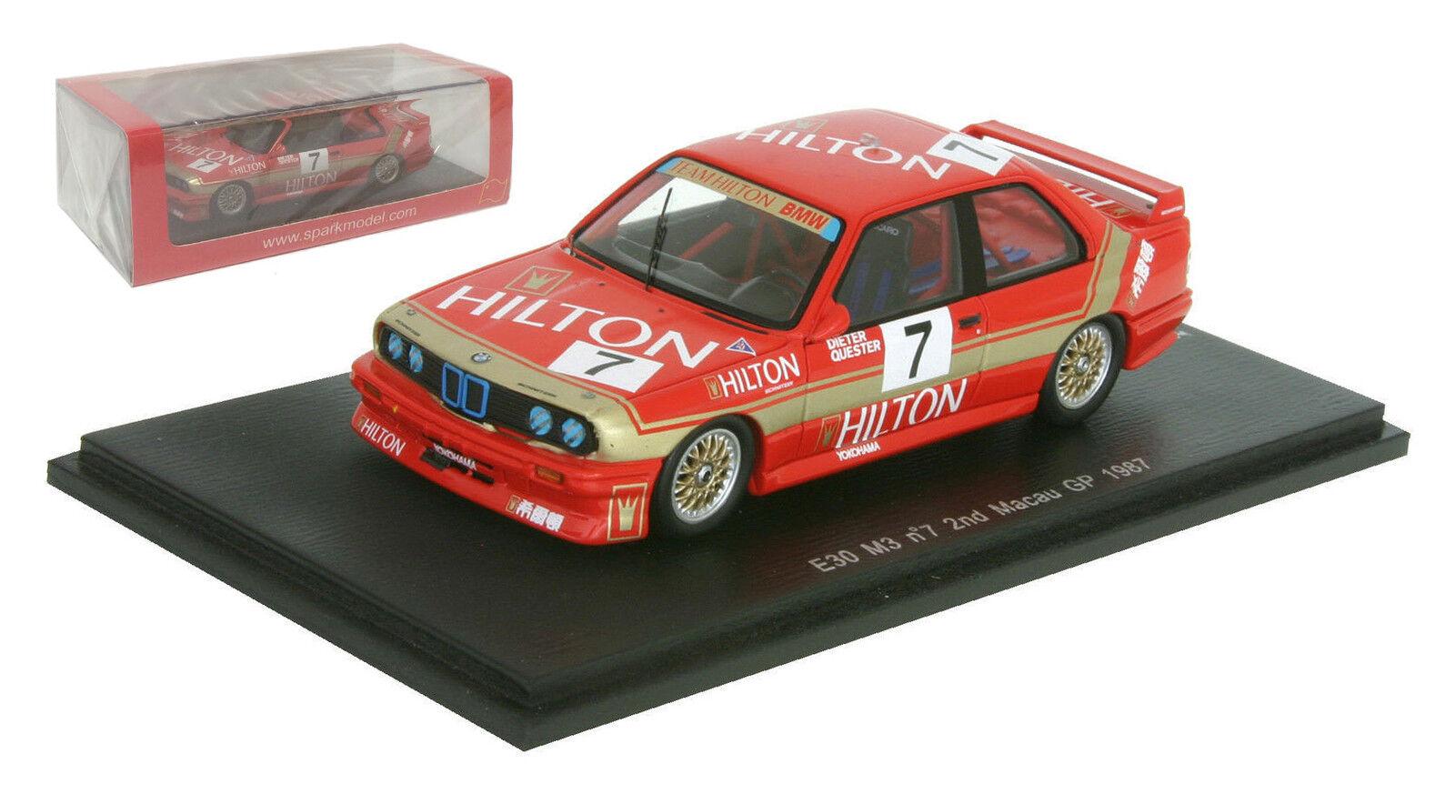 SPARK sa033 BMW E30 M3   7 2Nd MACAU GP 1987-Dieter Quester scala 1/43