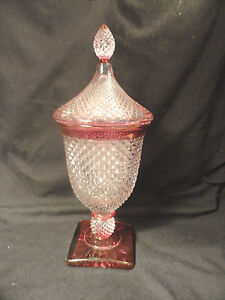 Westmoreland-English-Hobnail-Urn-Ruby-Stain-with-Lid-Candy-Dish