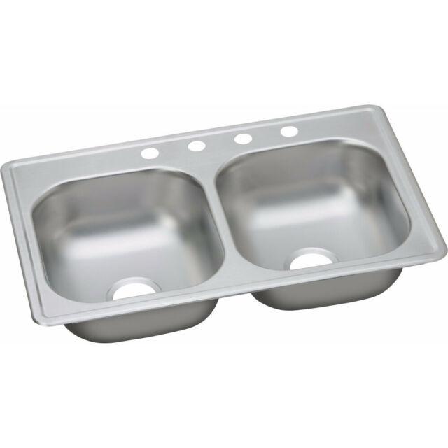 "Elkay 20G Steel 33x19x8"" Double Bowl Top Mount Kitchen Sink DSE233194 New"