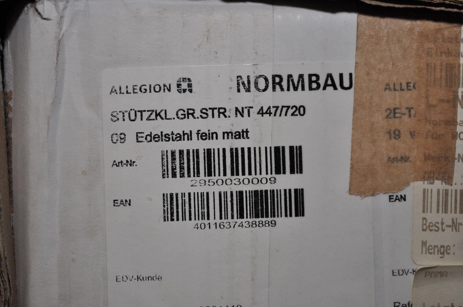 NORMBAU WANDSTÜTZGRIFF NT 447/720 MIT SERVICEKNÖPFEN EDELSTAHL FEIN MATT NEU